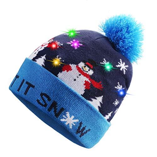 TAGVO LED Light Up Hat Beanie Knit Cap, Colorful LED Xmas Christmas Beanie