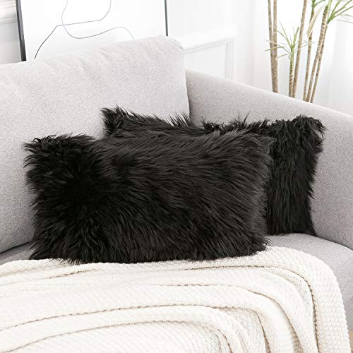 WLNUI Set of 2 Decorative Lumbar Black Fluffy Pillow Covers New Luxury Series Merino Style Faux Fur Throw Pillow Covers Fuzzy Cushion Case 12x20 Inch