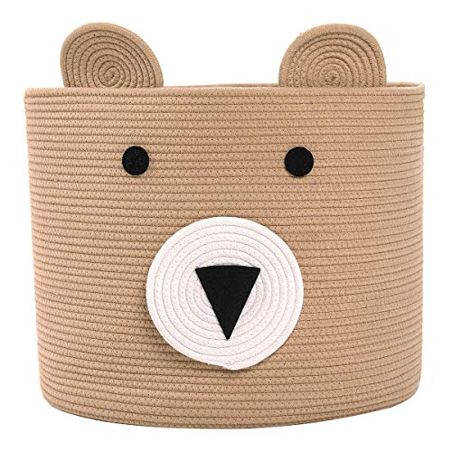 Bear Basket, Animal Basket, Large Cotton Rope Basket, Large Storage Basket, Woven Laundry Hamper, Toy Storage Bin, for Kids Toys Clothes in Bedroom, Baby Nursery, Beige 18