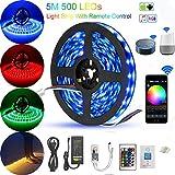 5M Ruban LED WIFI RGB 5050 SMD 150leds Multicolore Intelligent Bande Lumineuse, Compatible avec Alexa Google Home, Décoration pour l'Intérieur et l'extérieur dans Noël, Fête, etc