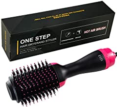 Hair Dryer Brush Hot Air Brush 3 In 1 One Step Hair Dryer & Volumizer Negative Ion Hot Air Blow Dry Brush Upgraded Electric Brush, Dry Straighten & Curl for All Hair Types (pink$black)