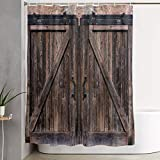 VINISATH Cortinas de Ducha,Textura rústica Antigua Puerta corrediza de Madera,Cortina de baño Decorativa para baño,bañera 180 x 180 cm