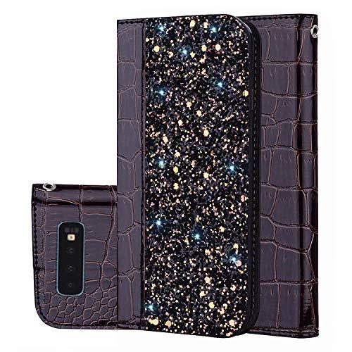 Galaxy S10 Plus Hülle, Leder Tasche Handyhülle Flip Wallet Schutzhülle für Samsung Galaxy S10 Plus mit Ständer und Kartenfächer/Magnetverschluss#E (4)