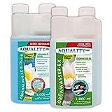 AQUALITY Algenvernichter Komplett-Sparset Gartenteich (GRATIS Lieferung in DE - Befreit und entfernt Fadenalgen, Schwebealgen, grünes Wasser schnell und dauerhaft)