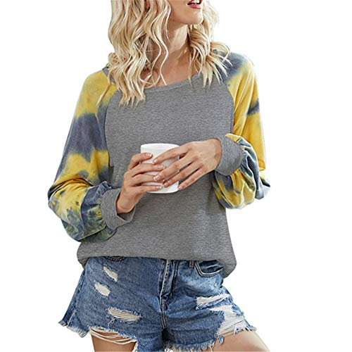 ZFQQ Autumn and Winter Women's Jacket Round Neck Printed Long-Sleeved T-Shirt Gray