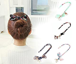 4PCS Sc0nni Magic Fashion Pearl Hair Styling Clip French Twist Hairstyle Donut Clip French Twist Magic DIY Tool Hair Bun Maker Hairstyle Must-haves Tool. (4 Color) (colorful)