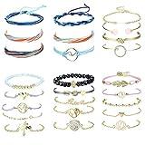 YADOCA 25 Pcs Bracelet Boheme pour Femmes Filles Bracelet Coeur Charm Bracelet Chance