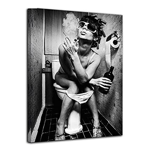 Baño de moda en blanco y negro mujer sexy Diy pintura de diamantes chica fumando y bebiendo diamante bordado pegatina de pared 50 * 60