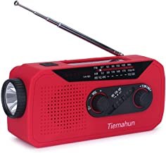 Tiemahun Solar/Hand Cranked Emergency Dynamo Powered AM/FM/NOAA Radio LED Flashlight Lantern 2000mAh Power Bank with Earphone Jack & Battery Power Indicator (Red)