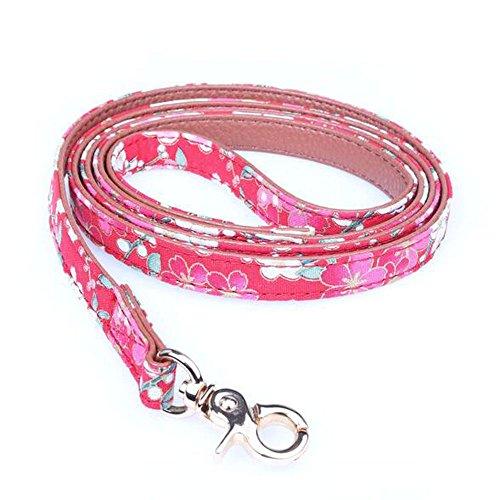 herohua - Correa para Perro, Inspirada en la Primavera, diseño Floral, Color Rojo Ciruela, Collar a Juego Disponible por Separado