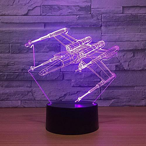 Lámpara De Ilusión 3D Usb 7 Cambio De Color 3D Luz Nocturna Led Star Wars X-Wing Modelado Niños Botón Táctil Aviones Lámpara De Escritorio Decoración Con Luz Láser
