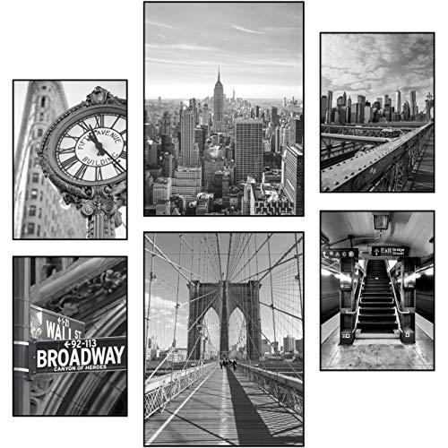 Reframed® Juego de pósteres prémium – apto para marcos de fotos Ikea   2 x 30 x 40 cm y 4 x 21 x 30 cm   decoración de salón   decoración elegante de pared   Nueva York blanco y negro – sin marco