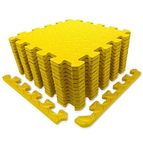 9HORN Exercise Mat/Protective Flooring Mats with EVA Foam Interlocking Tiles and Edge Pieces Suitable for Gym Equipment, Yoga, Surface Protection (Yellow, 12 Tiles (~12sqf))