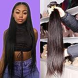 DFX Hair Silky Straight Human Hair Bundles Virgin Brazilian Straight Hair Weave Bundles on Sale Natural Black Color (12 14 16 18, Straight 4 Bundles)