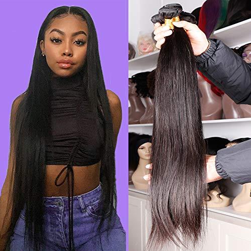 DFX Hair Silky Straight Human Hair Bundles Virgin Brazilian Hair 22 20 18 16 inch Straight 4 Bundles Premium 100% Human Hair Extensions Natural Black Color