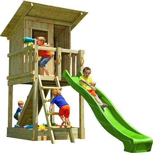 Blue Rabbit Spielturm Beach Hut mit Rutsche + Rampe mit Seil Kletterturm Holzturm Stelzenhaus mit Wasserrutsche, Fernrohr und Kletterrampe mit Seil (Podesthöhe 1,20 m, Grün)