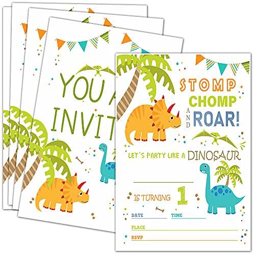 Dinosaur 1st Birthday Party Invitations