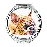 Espejo de viaje, lindo perro mascota divertido pequeño bulldog francés, espejo de bolsillo, espejo portátil