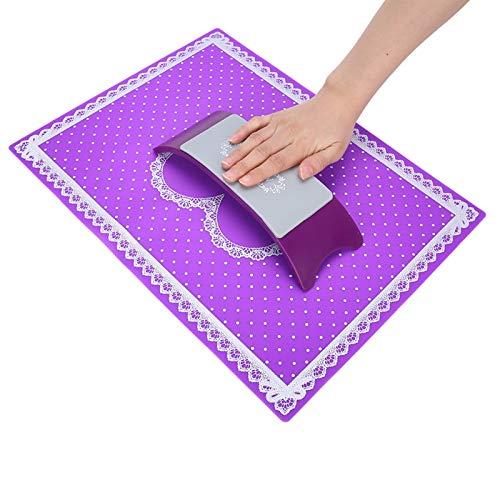 Cojín De Silicona Para Reposo De Manos Con Tapete Para Decoración De Uñas, Soporte Lavable Para Almohada De Mano Para Manicura, Estación De Escritorio Mesa Para Reposo Uñas Profesional(Púrpura)