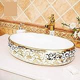 Europa Vintage Style China handgemachte Lavabo Waschbecken Oval Gold Muster künstlerische Waschbecken Keramik Waschbecken-One_Set cxjff (Color : One Set)