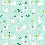 Pingianer 11,99€/m Lama 100% Baumwolle Baumwollstoff Kinder Meterware Handwerken Nähen Stoff (Hase Mond Herz Weiß) (Lama Türkis, 100x160cm (11,99€/m))