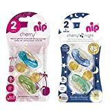 Nip DAY & NIGHT LATEX Cherry rond Tétine Sucette 4 pièces Boy Ensemble, Taille 2, 6-32 mois (2 x...