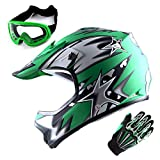WOW Updated Youth Motocross Helmet Kids Motorcycle Bike Helmet Matt Star Green + Goggles + Skeleton Green Glove Bundle