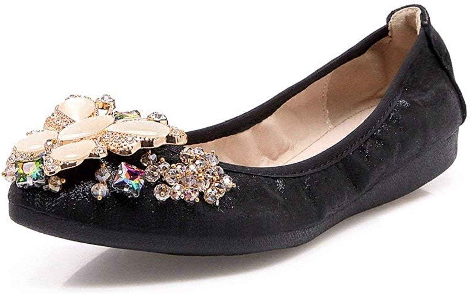A-LING Womens Foldable Ballet Flats Rhinestone Comfort Wedding shoes