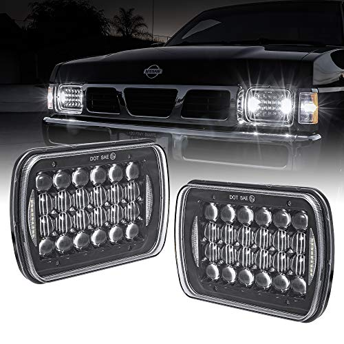 7x6 5x7 LED Headlights H6054 H5054 [Black Finish] [DRL Built-In] [H4 Plug & Play] [Low/High Beam] - Compatible with JEEP Wrangler YJ Cherokee XJ Head Light For H6054LL 69822 6052 6053