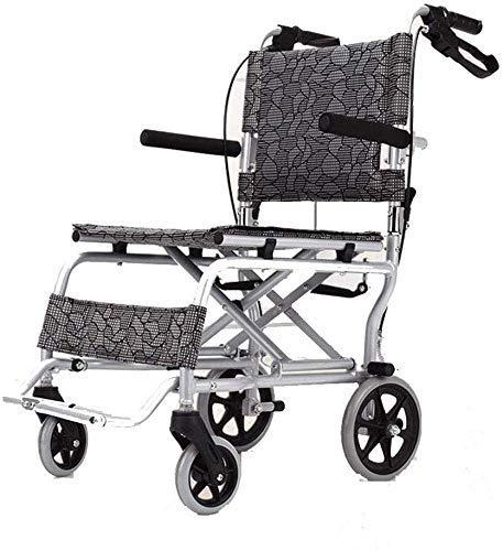 Busirsiz Sillas de ruedas multifunción ligero plegable de aleación de aluminio con discapacidad sillas de ruedas auto bloqueo freno viaje mano empuje scooter