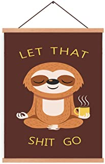 Natural Wood Magnetic Hanger Frame Poster-Funny Yoga Animal Canvas Wall Art Print Inspirational Quotes Let That Shit Go Painting 28X45cm Frames Hanging Kit