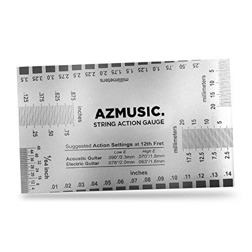 AZMUSIC Jauge de corde d'action pour mesurer avec précision le réglage de votre guitare acoustique, électrique et votre basse