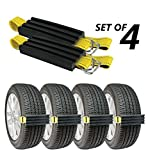 TRACGRABBER Trac-Grabber – Snow, Mud and Sand Tire Traction Device, Set of 4 – for Trucks and Large SUVs, Easy to Install – A Snow Traction Mat Alternative – Get Unstuck