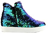 Cr Uneek-1 Hidden Wedge Women Fashion High Top Sequin Sparkle Sneaker Shoe Gold (Multi-Color, Numeric_10)