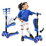 Hurtle 3-Wheeled Scooter for Kids - Wheel LED Lights, Adjustable Lean-to-Steer Handlebar, and Foldable Seat - Sit or Stand Ride with Brake for Boys and Girls Ages 1-14 Years Old - Blue