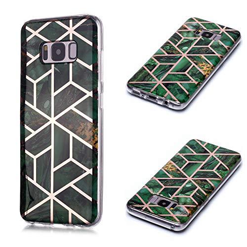 QFUN Silikon Hülle für Samsung Galaxy S8, Glitzer Marmor Geometrisch Muster Ultra Dünn Weich Handyhülle Flexible Gummi TPU Bumper Anti-Kratz rutschfest Schutzhülle und Schutzfolie,Grün