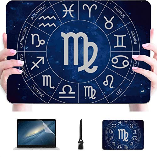 Case for MacBook Zodiac Sign Zodiac Sign Virgo Plastic Hard Shell Compatible Mac Computer Cover Protection Accessories for MacBook with Mouse Pad