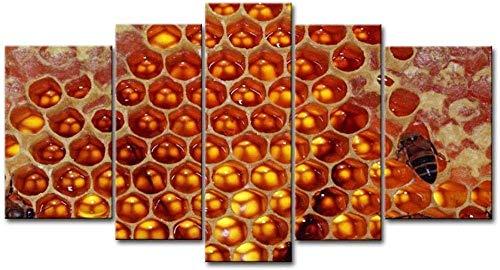JYCXOZ Cuadro de Arte de Pared de 5 Paneles, Panal de Abejas, imágenes de Miel, Impresiones en Lienzo, Animal, Aceite Decorativo para decoración del hogar, PrintM