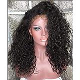 Novopus parrucca:con tulle integrale Lace integrale Parrucca Taglio medio corto Taglio scalato Con frangia Brasiliano Kinky Curly Parrucca 130% Densità dei capelli con i capelli del:130%