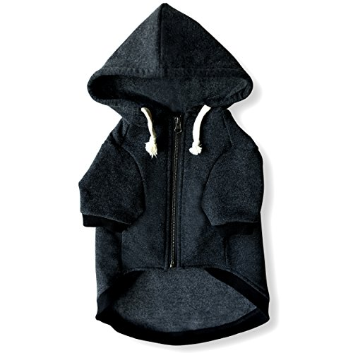 Ellie Dog Wear Zip Up Adventure Charcoal Grey Dog Hoodie with Hook & Loop Pockets and Adjustable Drawstring Hood For Pugs