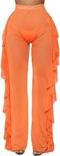 RUEWEY Women See Throug Mesh Flare Cover up Pants Swimsuit Bikini Bottom Cover up Elastic Waist Wide Leg Palazzo Trousers
