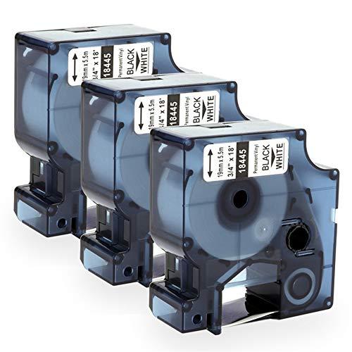 Airmall kompatible Dymo Rhino Industrie Vinyletiketten 18445 19 mm x 5,5 m, Schwarz auf Weiß Schriftband, kompatibel Dymo Großtechnisch Etikettenband für Dymo Rhino 4200 5000 5200 6000, 3 Rollen