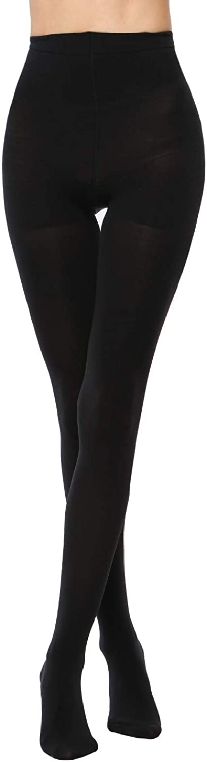 LASETA 2 Pairs Opaque Tights Control Top Pantyhose High Waist Tights for Women