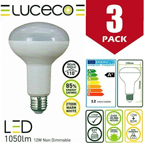 Luceco - Juego de 3 Bombillas LED de 12 W (80 W), R90, no regulables, casquillo de rosca E27, 1050 lúmenes, 2700 K, luz blanca cálida, clase energética A+