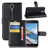 ECENCE Handy-Schutzhülle - Handytasche für Wiko Harry Schwarz - Smarthone Case Cover stoßfest mit Kartenfach - Handycase mit Stand-Funktion 11020303