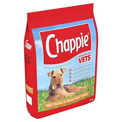 Chappie Complete Dry Dog Food for Adult Dogs with Chicken and Wholegrain Cereal, 1 Bag (1 x 15 kg)