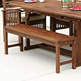 Walker Edison Furniture Company OWB7SDB 3 Person Outdoor Patio Wood Dining Bench All Weather Backyard Conversation Garden Poolside Balcony, 53 Inch, Dark Brown
