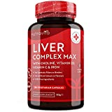Liver Complex Max with Choline, Vitamin D3, Vitamin C and Iron - for Normal Liver Function – 180 Vegetarian Capsules - Made in The UK by Nutravita