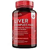 Detox Hígado - Complejo hepático de fuerza máxima - 180 cápsulas con 17 ingredientes activos premium - Apoya la función hepática normal - Colina y vitamina D - Fabricado por Nutravita