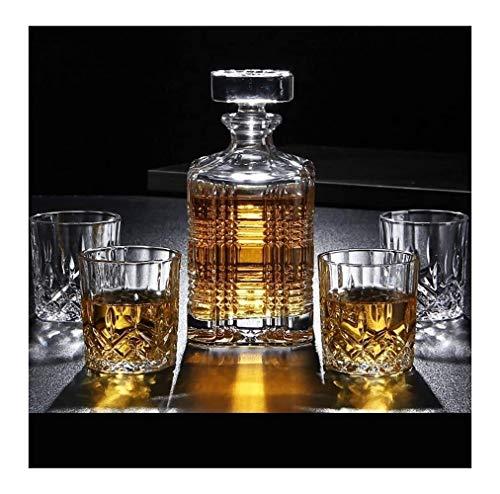 WEIJINGRIHUA Jarra de Whisky 7 Pieza Whisky decantadores 100% sin Plomo Cristal Whisky Decanter Puede Contener hasta 750 ml con Tapa for la Vodka Whisky escocés Ron Tequila Más (Color : A)